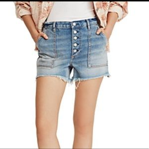 Free People Jesse Denim Carpenter Shorts 30